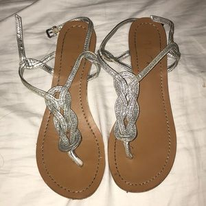 Sparkly Silver Sandals Size 8